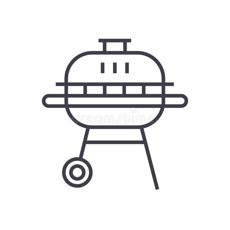 Linea rotonda icona, segno, illustrazione di vettore del barbecue su fondo, colpi editabili royalty illustrazione gratis