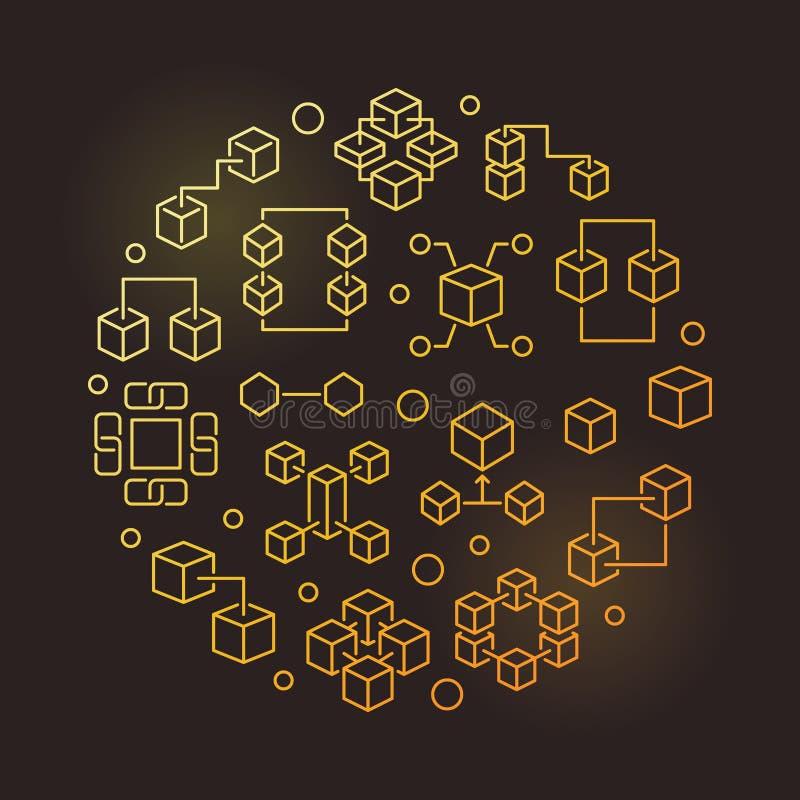Linea rotonda illustrazione moderna dorata di vettore di Blockchain illustrazione di stock