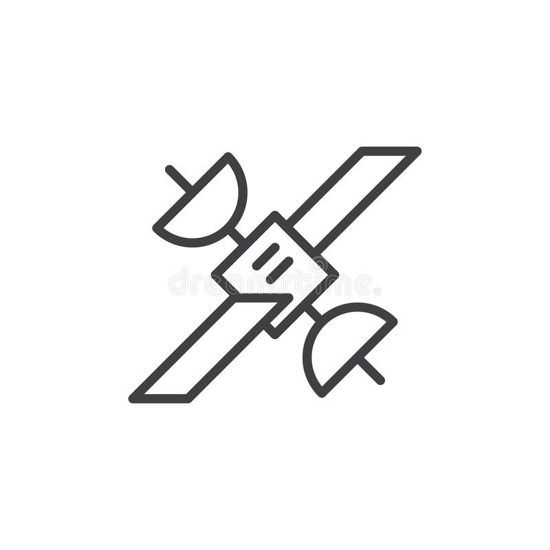 Linea satellite icona, segno di vettore del profilo illustrazione di stock