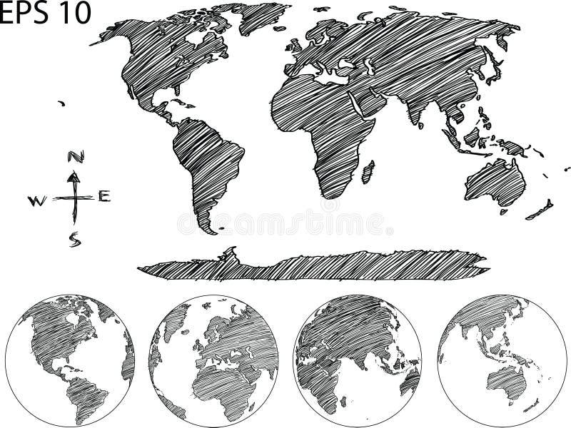 Linea schizzo di vettore del globo della mappa di mondo sull'illustratore royalty illustrazione gratis