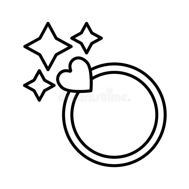 Linea scintillante icona dell'anello Anello della donna con l'illustrazione di vettore del cuore isolata su bianco Progettazione  illustrazione vettoriale