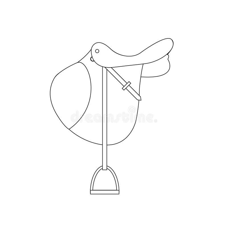 Linea sella di salto di vettore del cavallo dell'icona del fumetto dell'incrocio inglese classico piano disegnato a mano di manif royalty illustrazione gratis