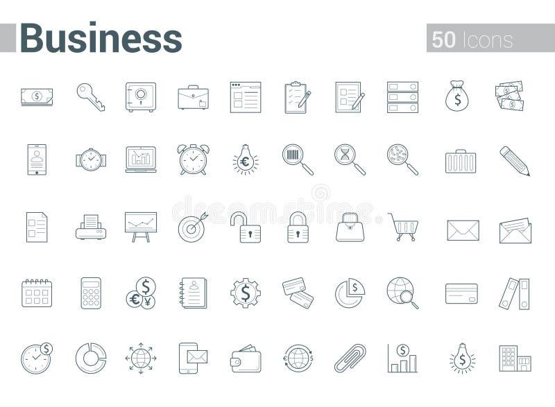 Linea semplice e pulita icone di vettore di affari messe illustrazione di stock