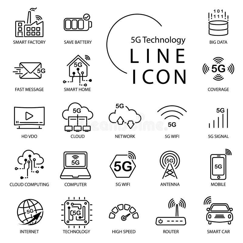 Linea semplice icona circa 5G, Internet di tecnologia del thingsIOT Comprenda la casa astuta, il wifi, la rete, nuvola e più illustrazione vettoriale
