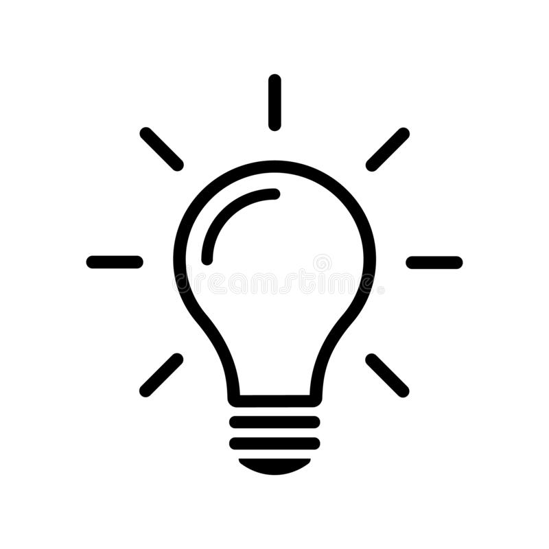 Linea semplice icona della lampadina isolata su fondo Concetto del segno di idea illustrazione vettoriale