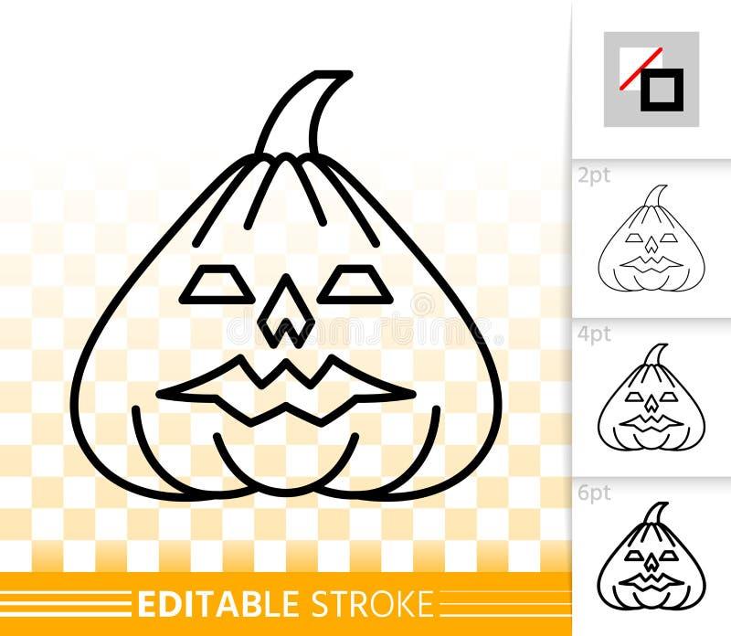 Linea semplice icona della lanterna di Jack O della zucca di Halloween royalty illustrazione gratis