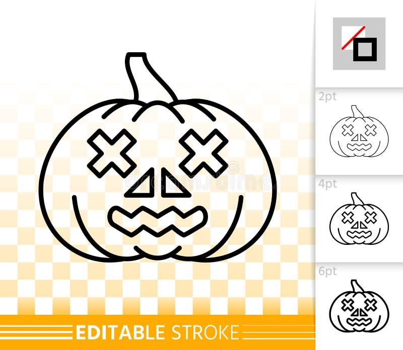 Linea semplice icona della lanterna di Jack O della zucca di Halloween illustrazione di stock