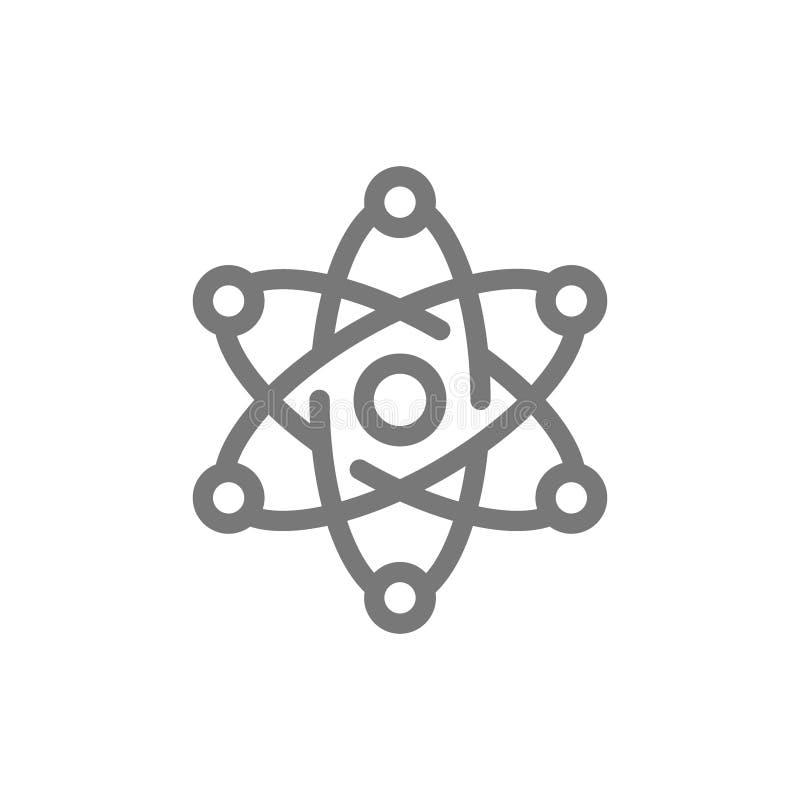 Linea semplice icona della molecola e dell'atomo Progettazione dell'illustrazione di vettore del segno e di simbolo Isolato su pr illustrazione vettoriale