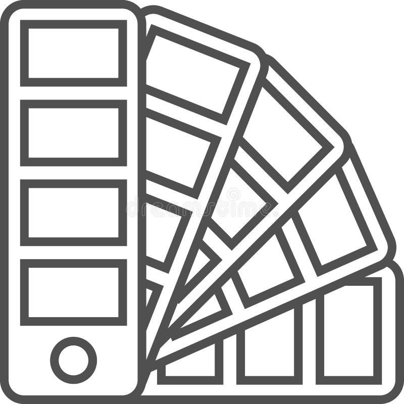 Linea semplice icona di hobby ed artistica di vettoredel artPallette di colore per il selezionamento dei colori Linea icona di illustrazione di stock