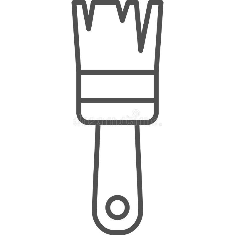 Linea semplice icona di hobby ed artistica di vettoredel artSpazzola classica del tasso con colore sulla punta Linea icona di  illustrazione vettoriale
