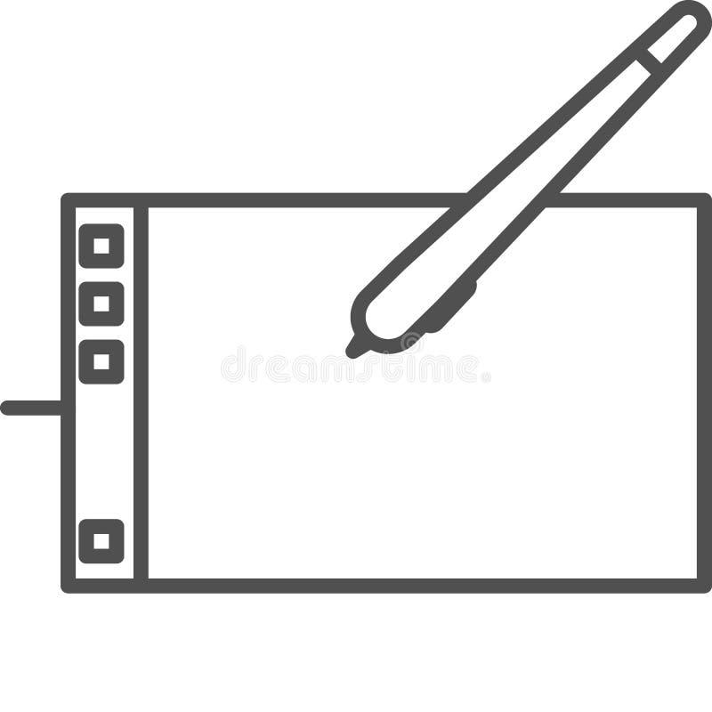 Linea semplice icona di hobby ed artistica di vettoredel artTavola del grafico per pittura digitale Linea icona di stile di ar royalty illustrazione gratis