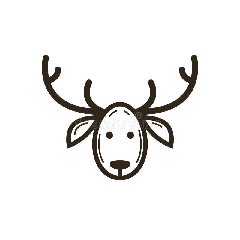 Linea semplice icona di vettore di Natale di arte della testa dei cervi illustrazione vettoriale