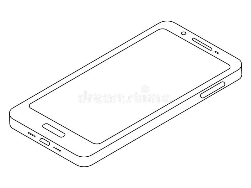 Linea semplice icona isometrica di vettore dello smartphone del telefono cellulare mobile immagini stock libere da diritti