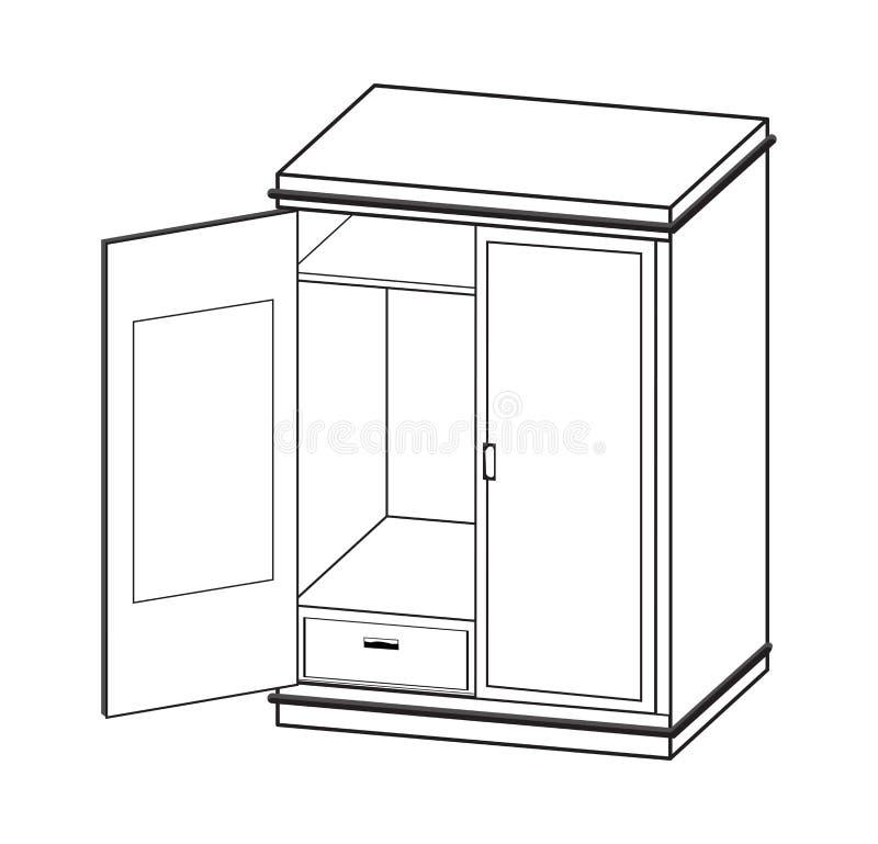 Linea semplice illustrazione del guardaroba aperto di vettore royalty illustrazione gratis