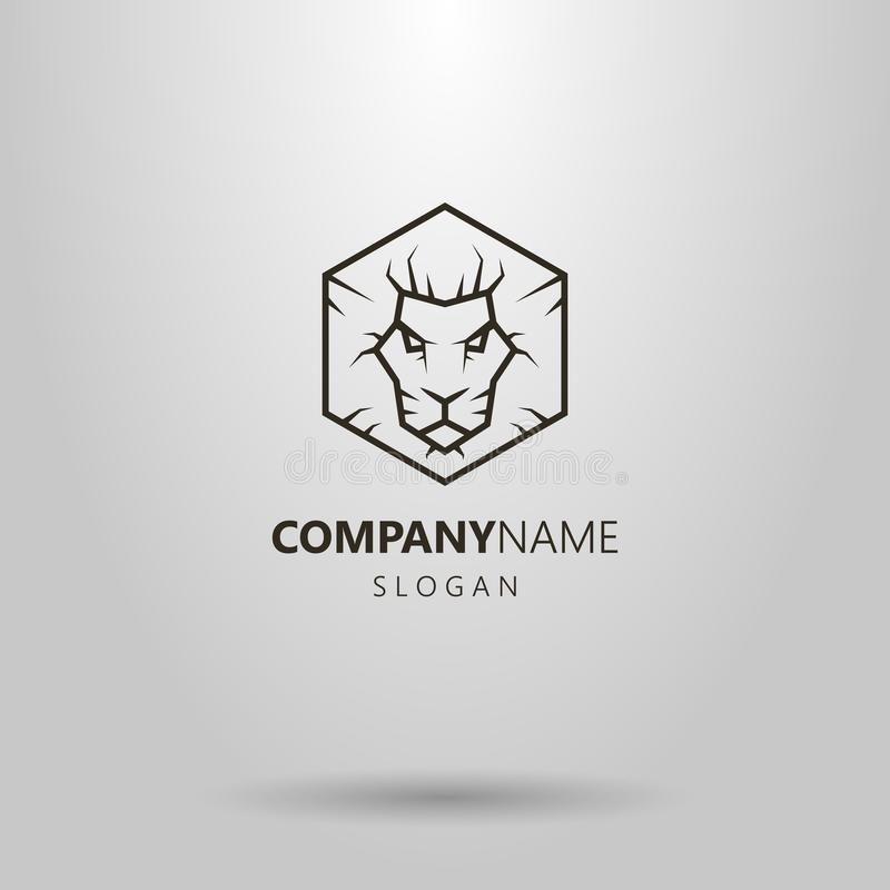 Linea semplice logo di esagono di vettore della testa del leone di arte illustrazione di stock