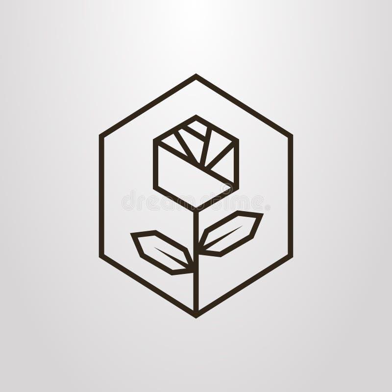 Linea semplice simbolo geometrico di vettore di arte del fiore rosa nel telaio di esagono royalty illustrazione gratis