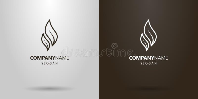 Linea semplice un logo di vettore di arte di due foglie di tè royalty illustrazione gratis
