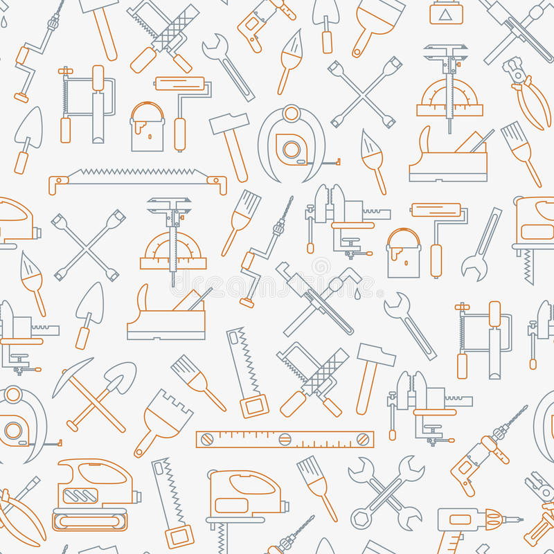 Linea senza cuciture modello con gli attrezzi per costruzione, edificio e le icone domestiche di riparazione Illustrazione di vet immagine stock libera da diritti