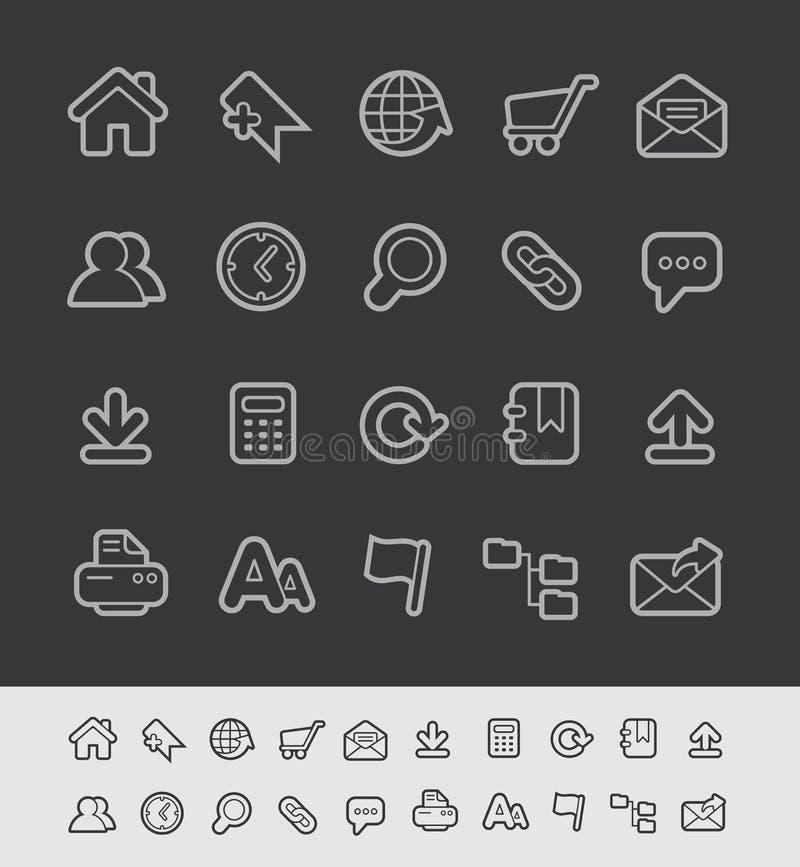 Linea serie del nero di //delle icone del sito Web illustrazione di stock