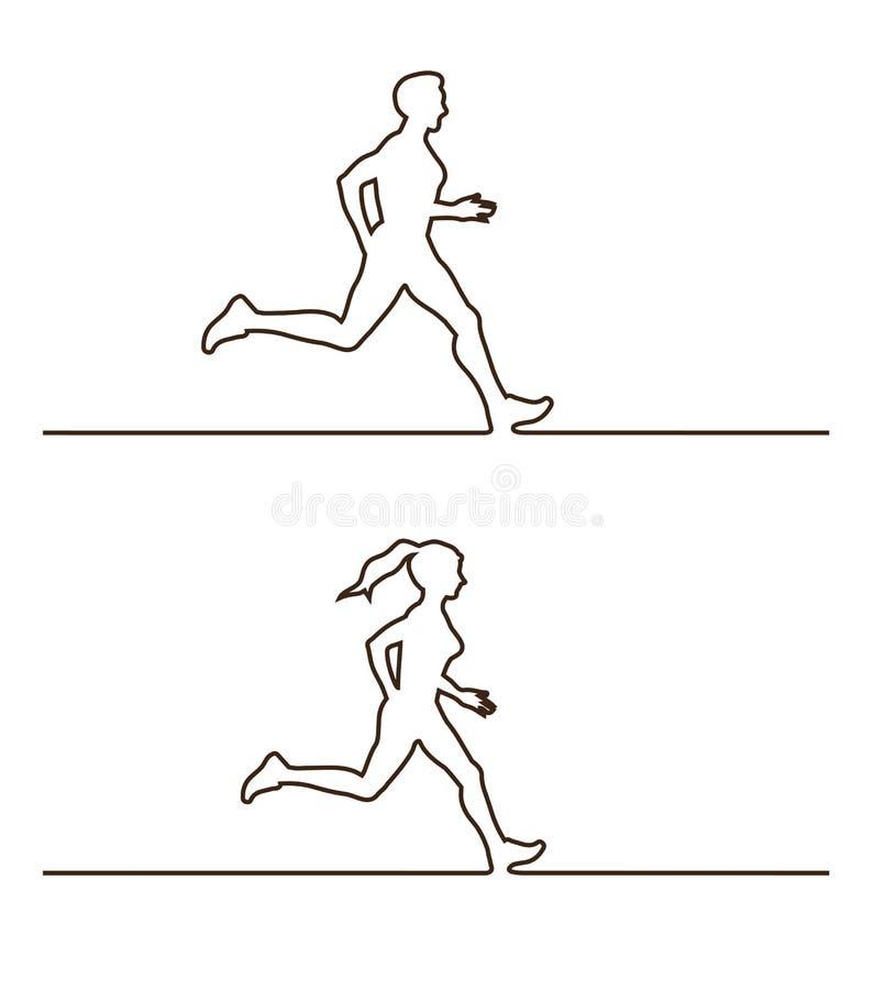 Linea siluette di corridori Insieme di vettore delle figure lineari dei corridori illustrazione vettoriale