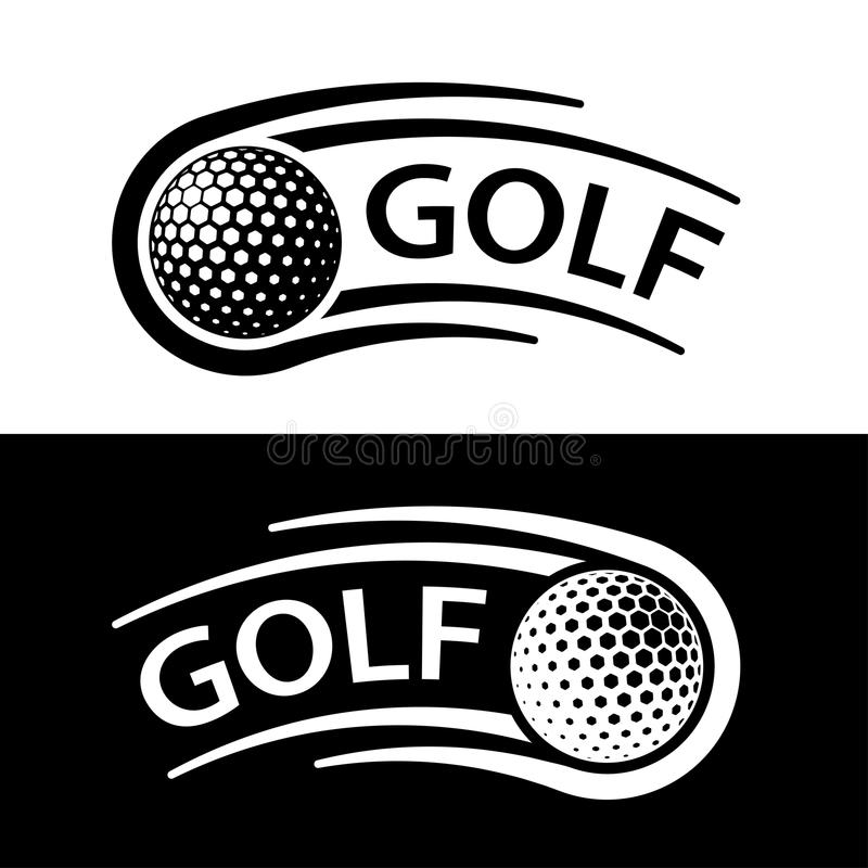 Linea simbolo di moto della palla da golf illustrazione di stock