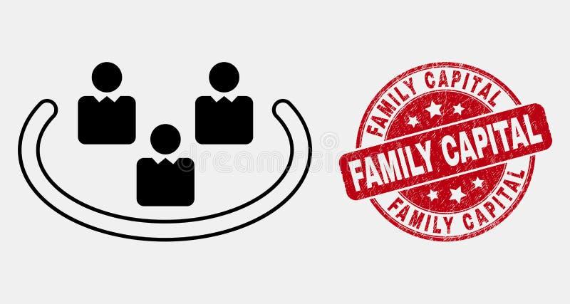 Linea sociale Ring Icon e bollo graffiato di vettore del capitale di famiglia illustrazione di stock