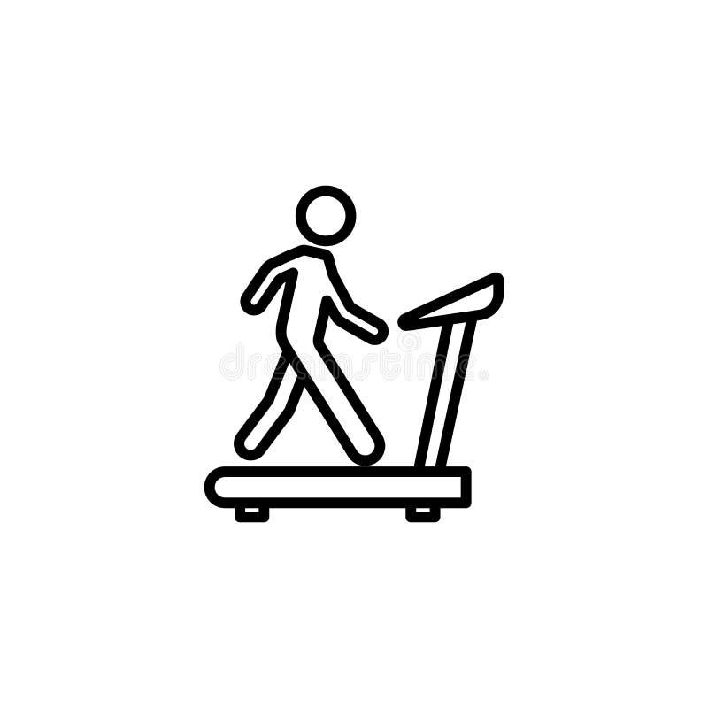 Linea sottile che cammina sull'icona della pedana mobile su bianco royalty illustrazione gratis