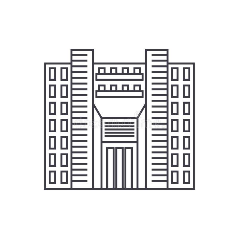 Linea sottile concetto del grattacielo della torre dell'icona Segno lineare di vettore del grattacielo della torre, simbolo, illu illustrazione di stock