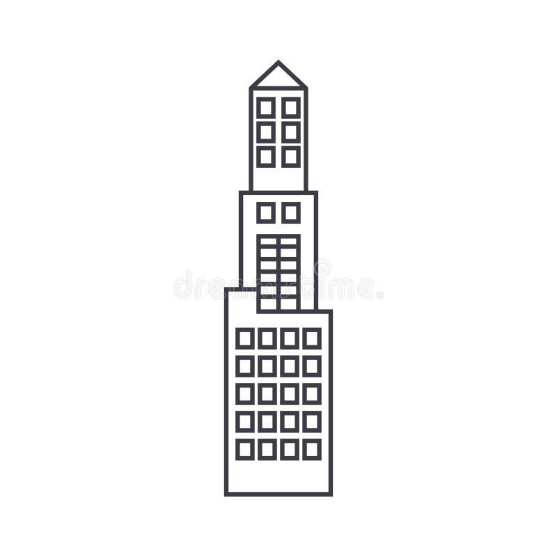 Linea sottile concetto della torre dell'ufficio dell'icona Segno lineare di vettore della torre dell'ufficio, simbolo, illustrazi illustrazione di stock