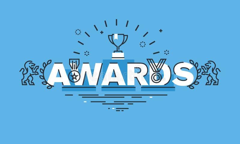 Linea sottile concetto di progetto per l'insegna del sito Web dei premi royalty illustrazione gratis