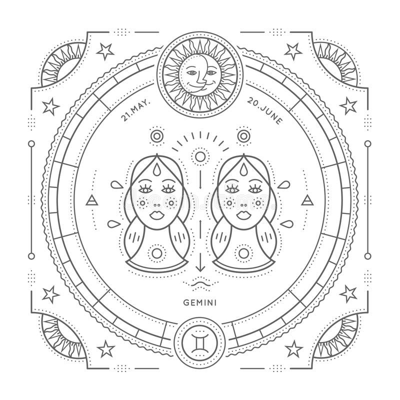 Linea sottile d'annata etichetta del segno dello zodiaco dei Gemelli Simbolo astrologico di retro vettore, elemento mistico e sac illustrazione di stock