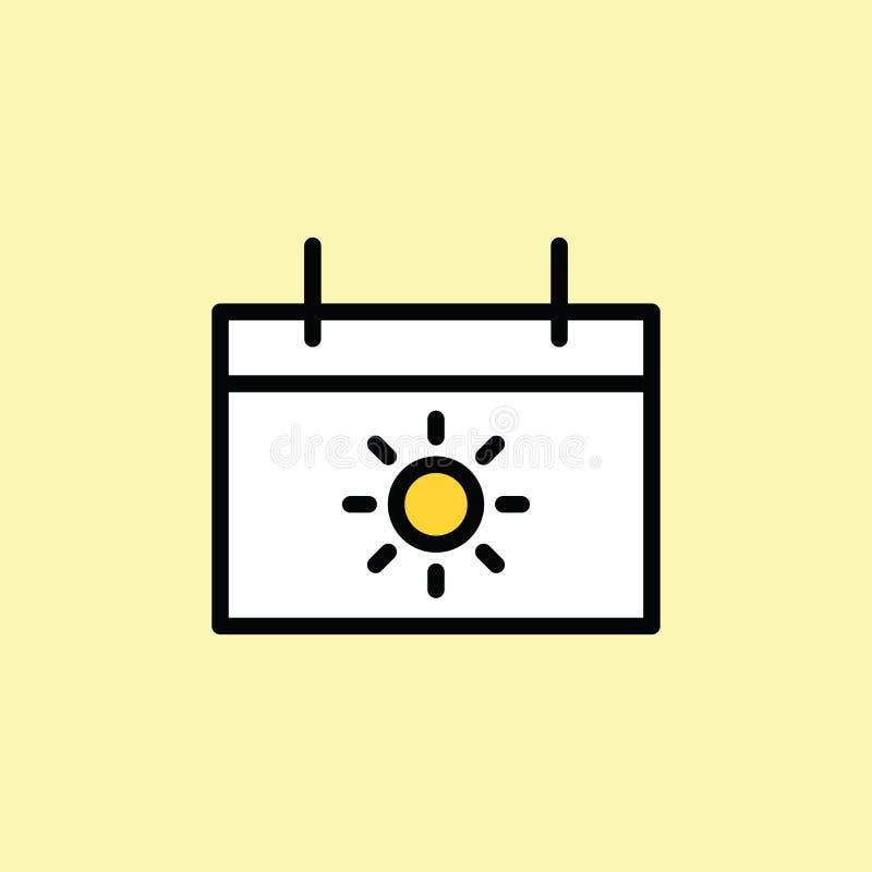linea sottile dell'icona del calendario di vacanza sul fondo di colore royalty illustrazione gratis