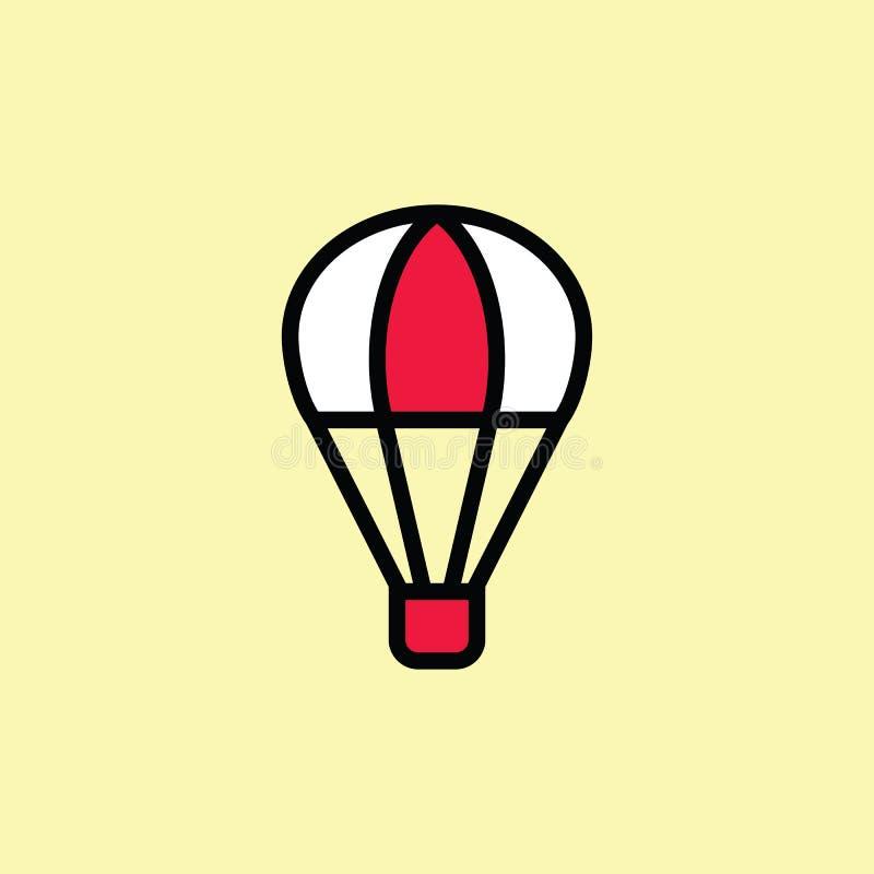 linea sottile dell'icona della mongolfiera sul fondo di colore royalty illustrazione gratis