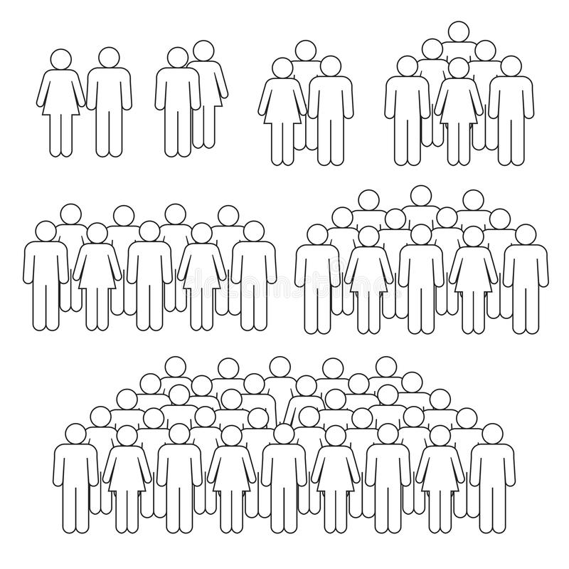 Linea sottile della folla del personale su fondo bianco royalty illustrazione gratis