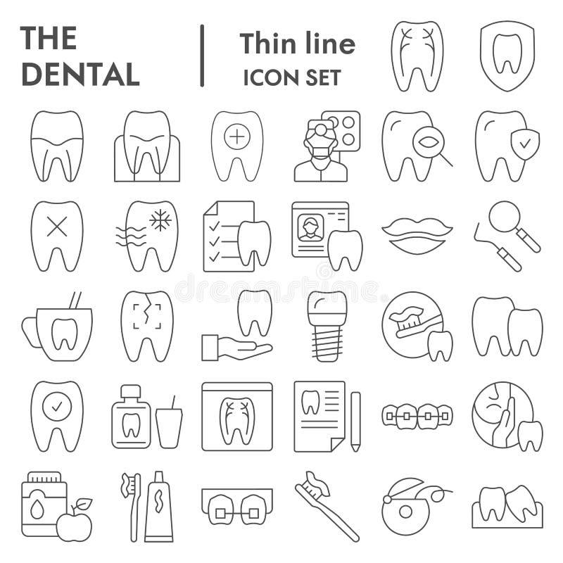 Linea sottile dentaria insieme dell'icona, simboli raccolta, schizzi di vettore, illustrazioni di logo, igiene orale dell'attrezz illustrazione vettoriale