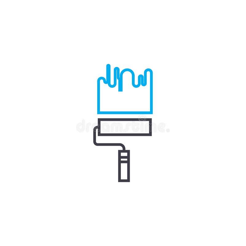 Linea sottile di verniciatura icona di vettore del lavoro del colpo Il lavoro di verniciatura descrive l'illustrazione, il segno  illustrazione di stock