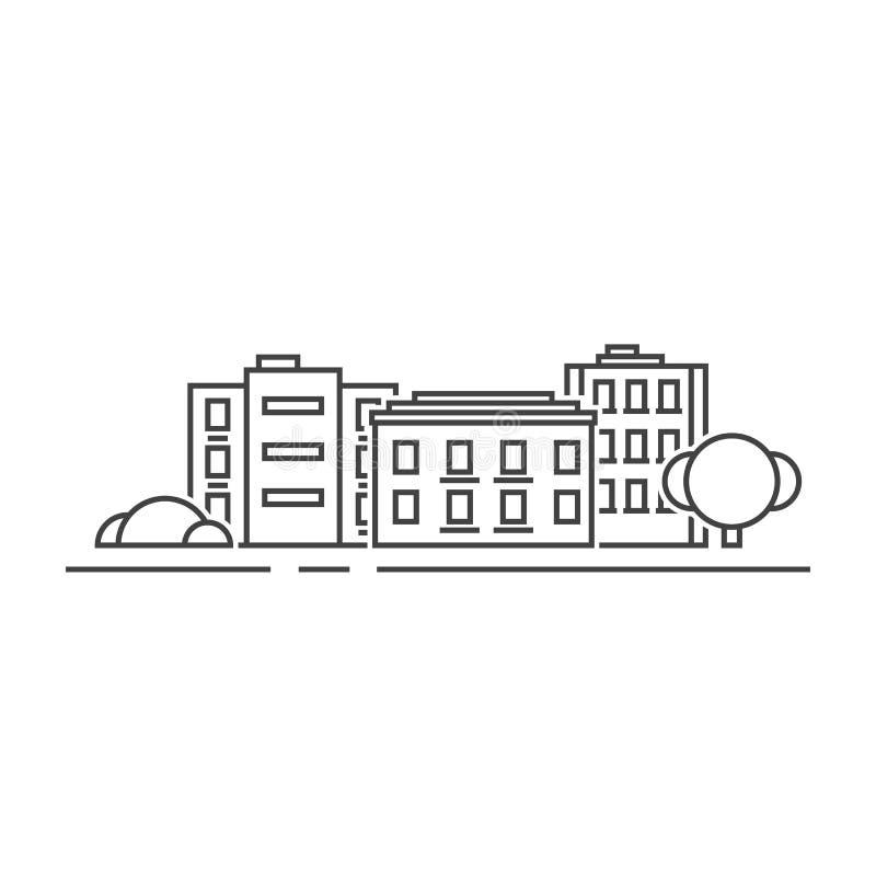 Linea sottile edifici residenziali del nero royalty illustrazione gratis