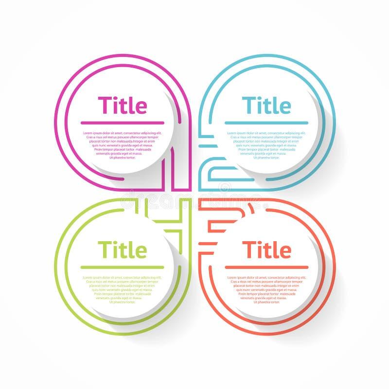 Linea sottile elemento infographic Grafico piano lineare, diagramma, schema, grafico con 4 punti illustrazione di stock