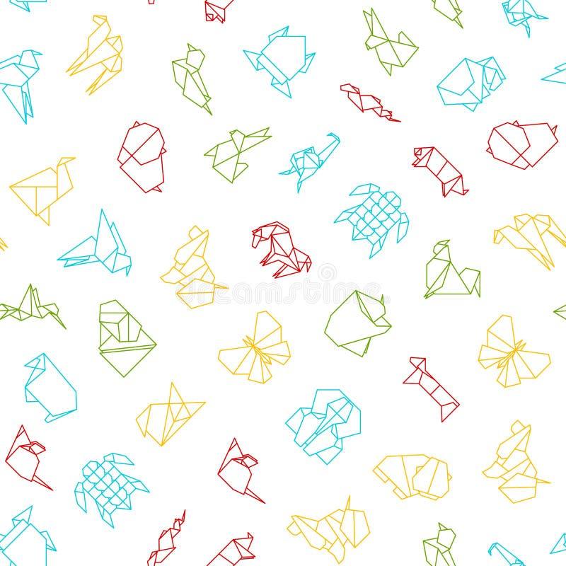 Linea sottile fondo senza cuciture dei segni di origami del modello Vettore illustrazione di stock