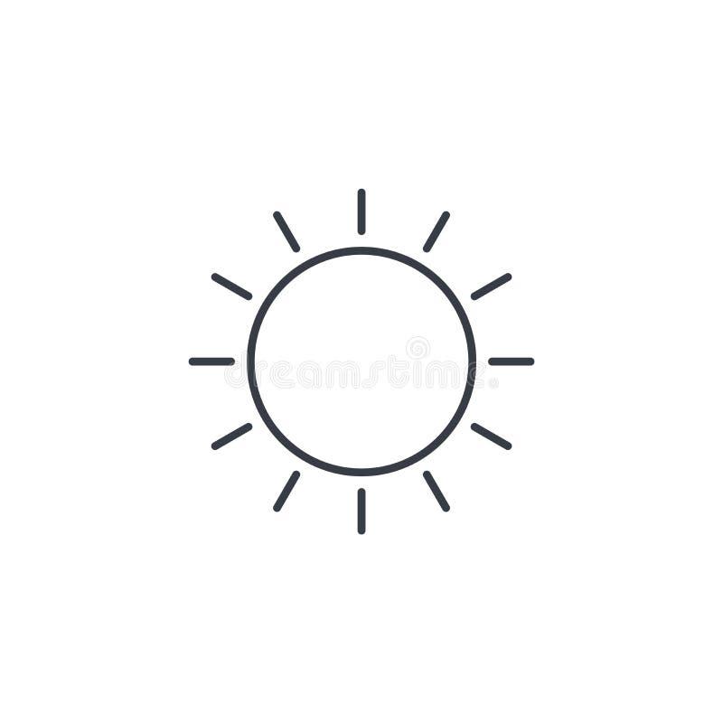 Linea sottile gialla icona di Sun Simbolo lineare di vettore illustrazione vettoriale