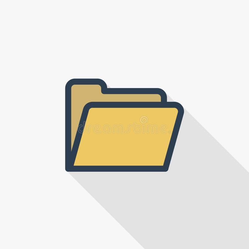 Linea sottile gialla icona piana della cartella di archivio di colore Simbolo lineare di vettore Progettazione lunga variopinta d royalty illustrazione gratis