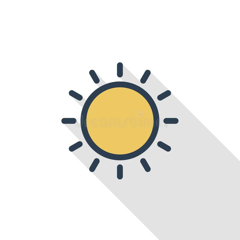 Linea sottile gialla icona piana di Sun di colore Simbolo lineare di vettore Progettazione lunga variopinta dell'ombra illustrazione di stock