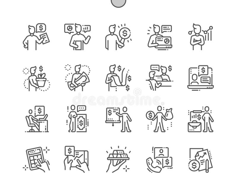 Linea sottile griglia 2x delle icone 30 di vettore perfetto del pixel Ben-elaborata consulente finanziario per i grafici ed i App illustrazione vettoriale