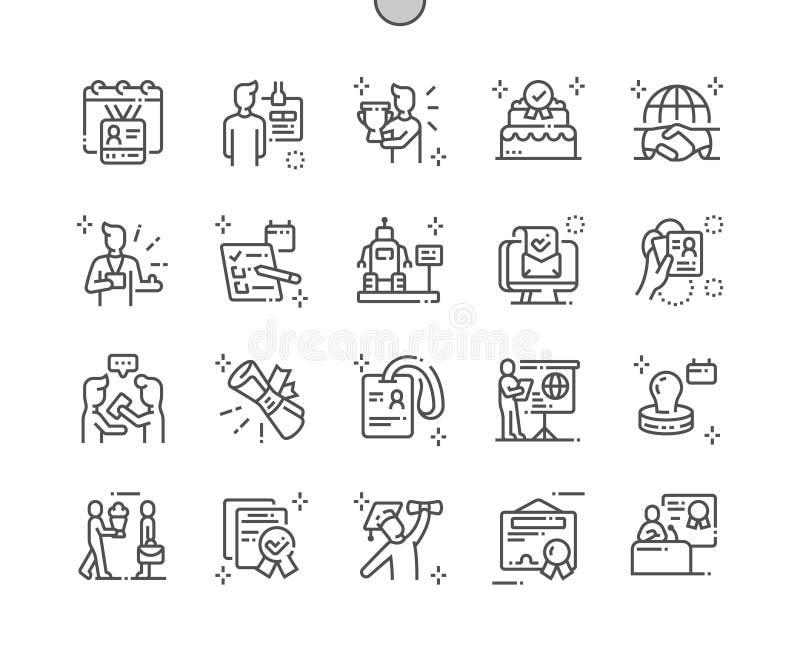 Linea sottile griglia 2x delle icone 30 di vettore perfetto del pixel Ben-elaborata giorno internazionale di accreditamento per i illustrazione vettoriale