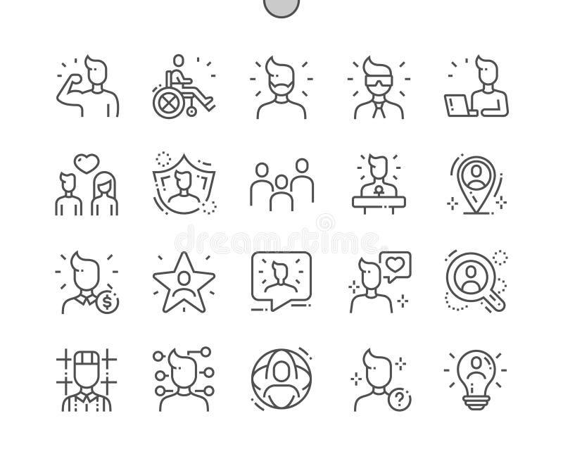Linea sottile griglia 2x delle icone 30 di vettore perfetto del pixel Ben-elaborata la gente per i grafici ed i Apps di web royalty illustrazione gratis