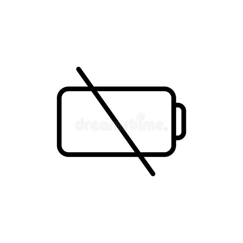 Linea sottile icona bassa della batteria illustrazione di stock