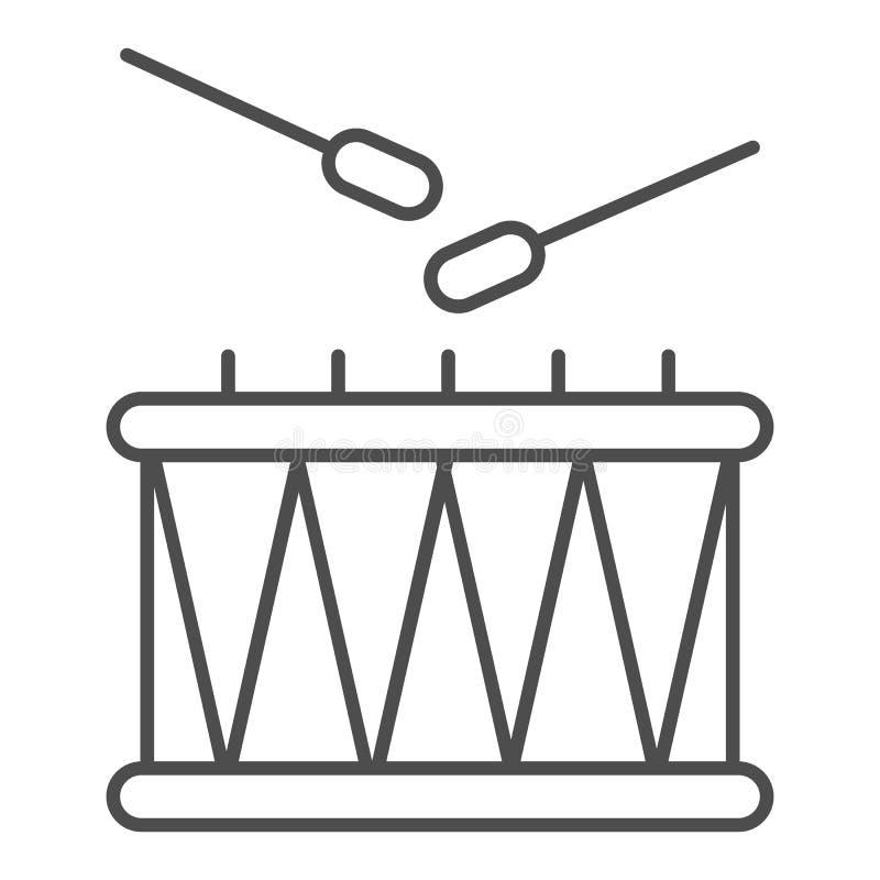 Linea sottile icona dei bastoni e del tamburo Illustrazione di vettore dello strumento di musica isolata su bianco Progettazione  illustrazione vettoriale