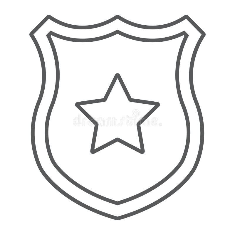 Linea sottile icona del distintivo della polizia, ufficiale e legge, schermo con il segno della stella, grafica vettoriale, un mo illustrazione vettoriale