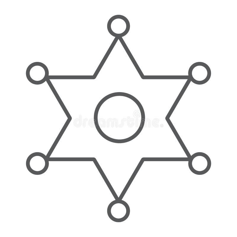 Linea sottile icona del distintivo dello sceriffo, legge ed ufficiale, segno del distintivo della polizia, grafica vettoriale, un illustrazione di stock