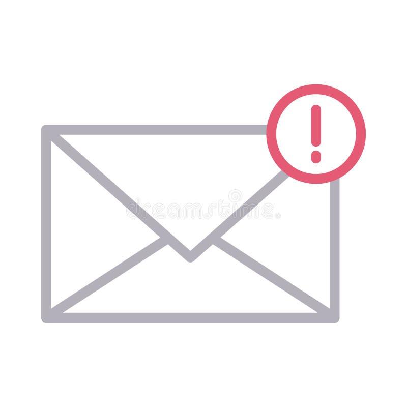 Linea sottile icona del email di errore di vettore di colore royalty illustrazione gratis